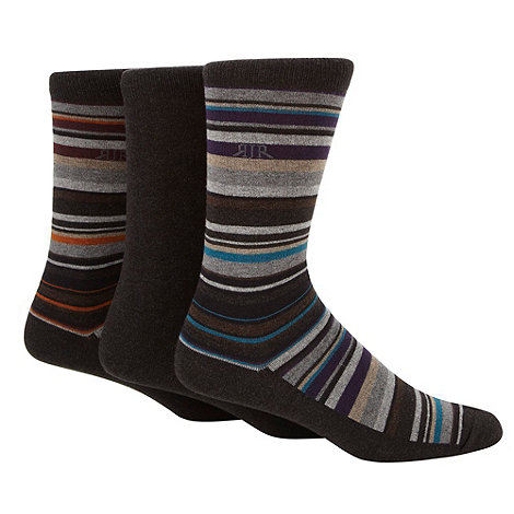 RJR.John Rocha - Designer pack of three dark grey irregular striped socks