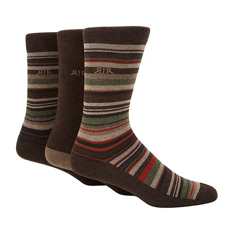RJR.John Rocha - Designer pack of three chocolate irregular striped socks