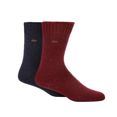 RJR.John Rocha - Designer heritage pack of two dark red and blue fleck socks