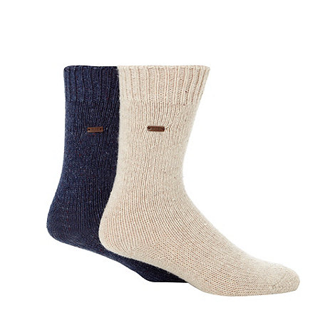 RJR.John Rocha - Designer heritage pack of two blue and cream fleck socks