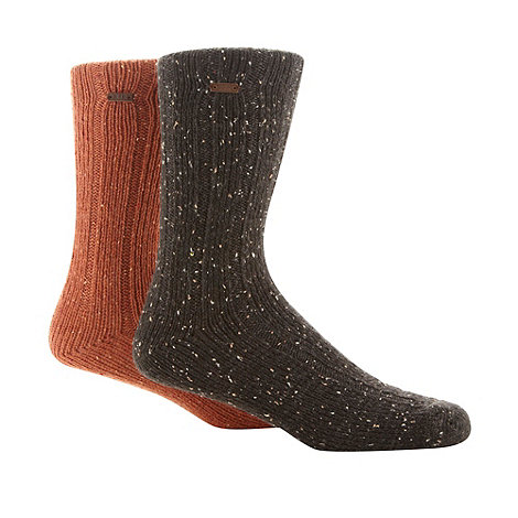 RJR.John Rocha - Designer heritage pack of two orange and dark grey ribbed socks