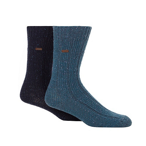 RJR.John Rocha - Designer heritage pack of two blue ribbed socks