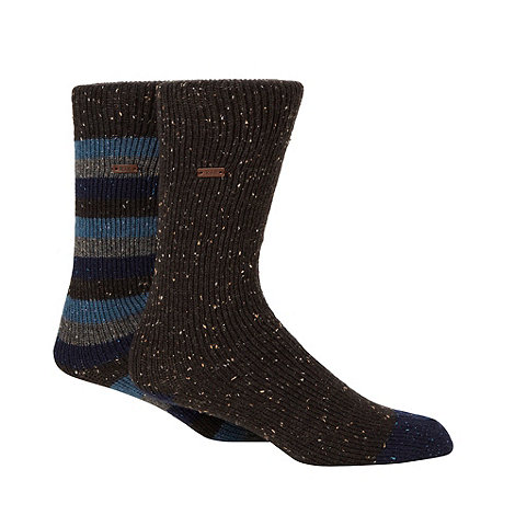 RJR.John Rocha - Designer heritage pack of two blue and dark grey fleck socks