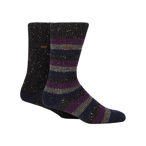 RJR.John Rocha - Designer heritage pack of two purple and dark grey fleck socks