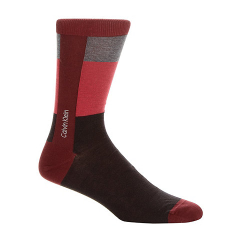 Calvin Klein - Red colour block striped socks