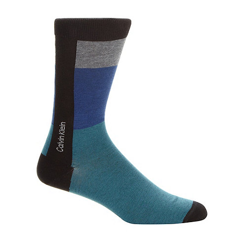 Calvin Klein - Blue colour block striped socks