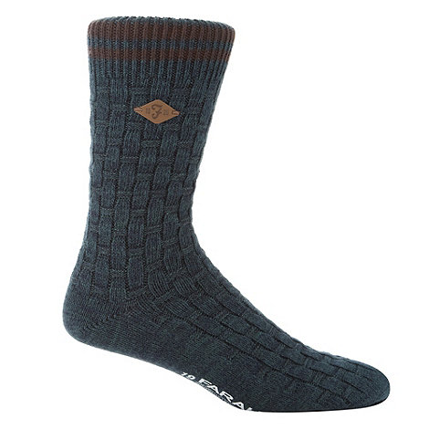 Farah - Dark green basket weave socks