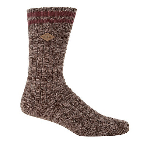 Farah - Brown basket weave socks