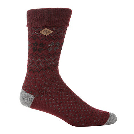 Farah - Wine jacquard fairisle knit socks