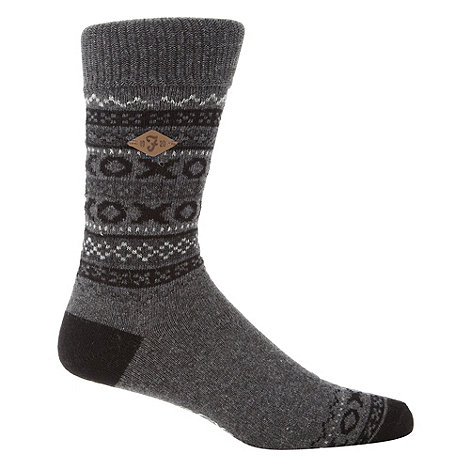 Farah - Dark grey jacquard fairisle knit socks