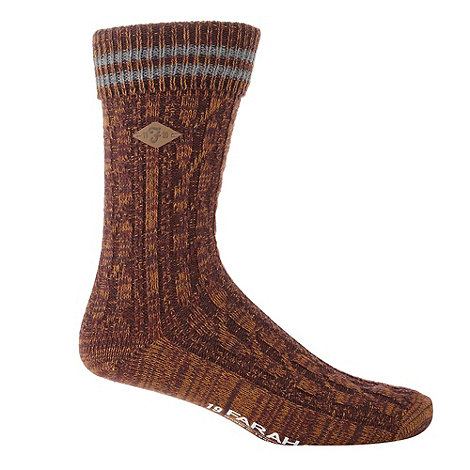 Farah - Wine cable knit boot socks