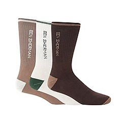 Ben Sherman - Pack of three brown sports socks