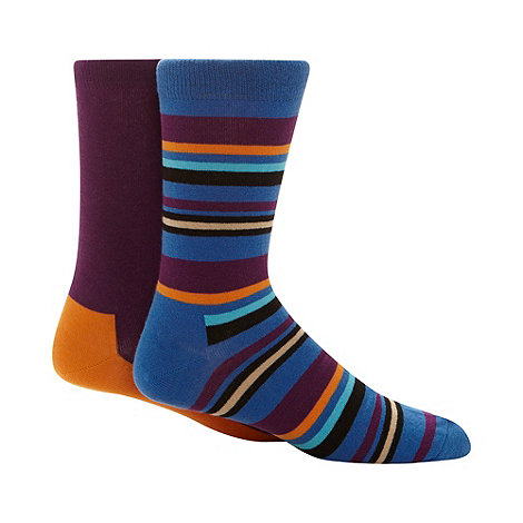 HS by Happy Socks - Pack of two purple striped cotton socks
