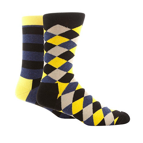 HS by Happy Socks - Pack of two yellow argyle socks