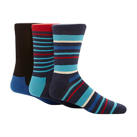 HS by Happy Socks - Pack of three navy striped cotton socks