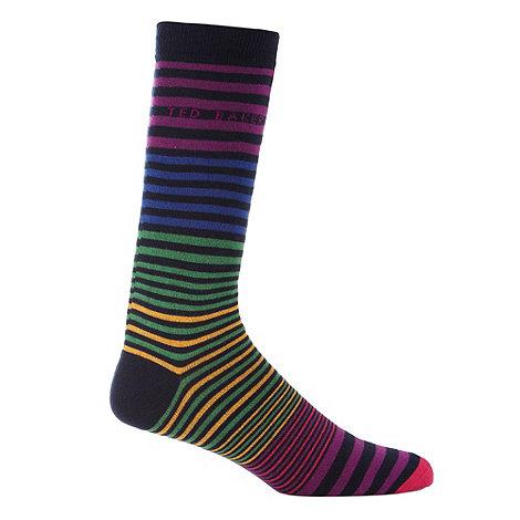 Ted Baker - Navy colour block striped socks