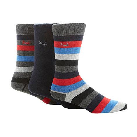 Pringle - Pack of three navy striped socks