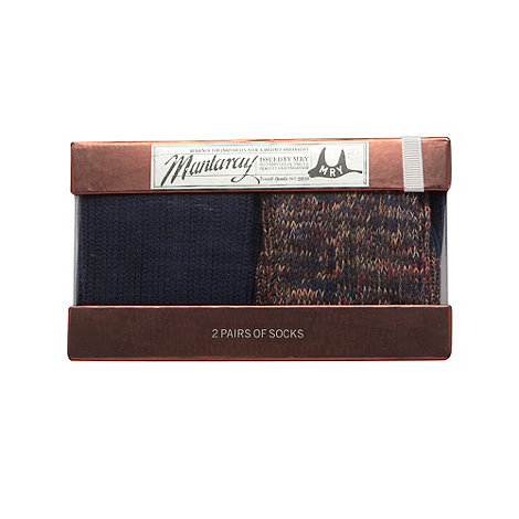 Mantaray - Pack of two navy twisted knit socks gift box