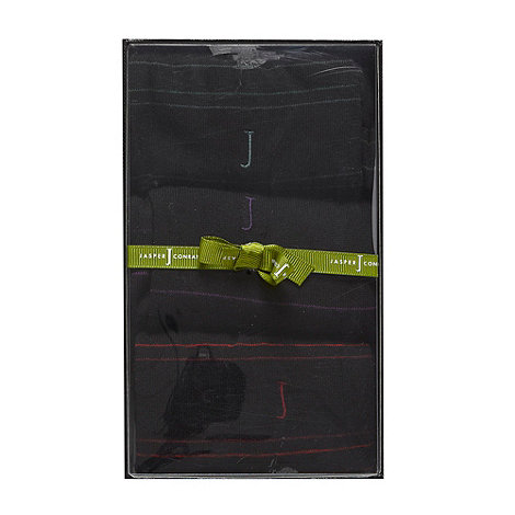 J by Jasper Conran - Designer pack of three black narrow striped socks gift box