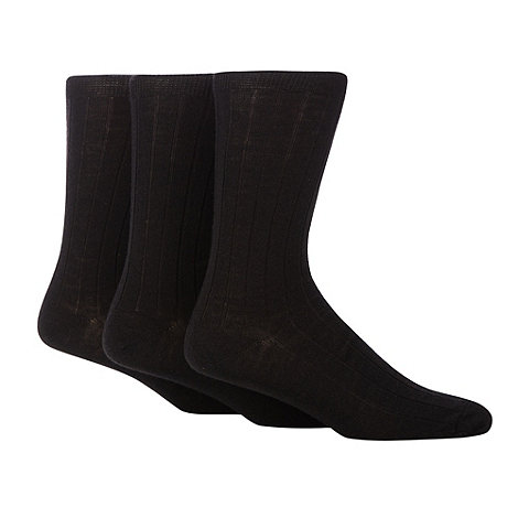 Maine New England - 3 Pack black wool rich ribbed mid length socks