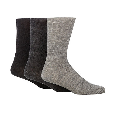Maine New England - 3 Pack grey wool rich ribbed mid length socks