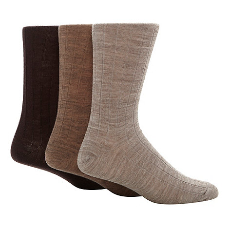 Maine New England - 3 Pack brown wool rich ribbed mid length socks