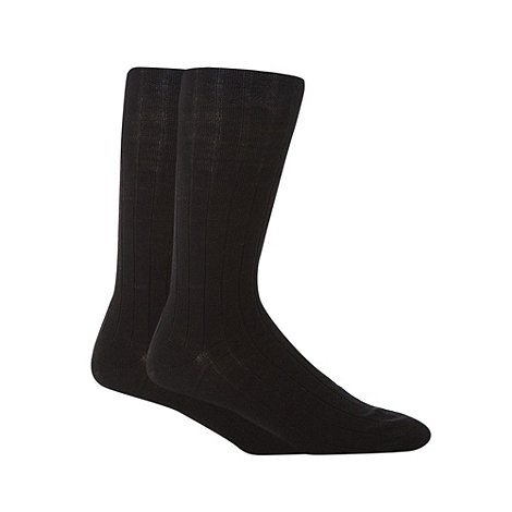 Maine New England - 2 Pack black wool rich ribbed longer length socks
