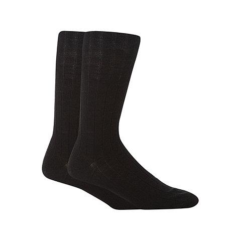 Maine New England - 2 Pack black wool rich ribbed longer length socks