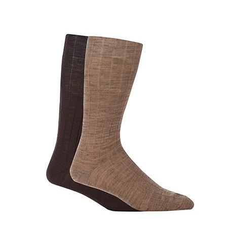 Maine New England - 2 Pack brown wool rich ribbed longer length socks
