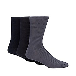H.J.Hall - Pack of three navy ribbed 'Softop' socks