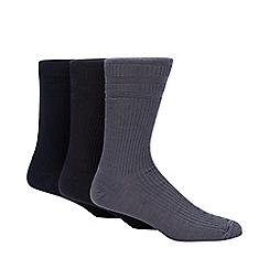 H.J.Hall - Pack of three navy ribbed 'Softop' socks