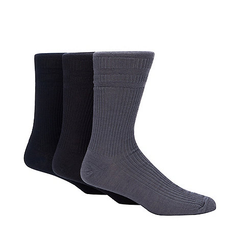 H.J.Hall - Pack of three navy ribbed +Softop+ socks