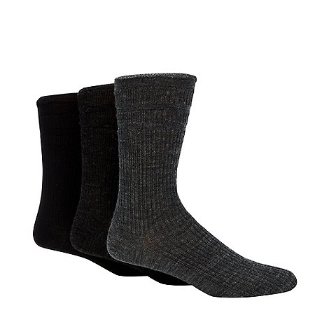 H.J.Hall - Pack of three grey ribbed +Softop+ socks