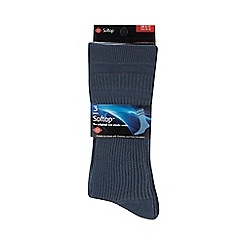 H.J.Hall - Pack of three blue non elastic socks