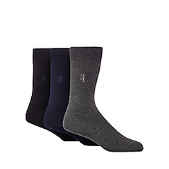 Pringle - Designer pack of three plain grey bamboo socks