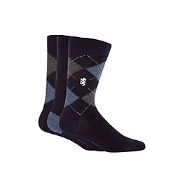 Pringle - Pack of three navy argyle bamboo socks