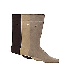 Calvin Klein - Pack of three taupe plain dress socks