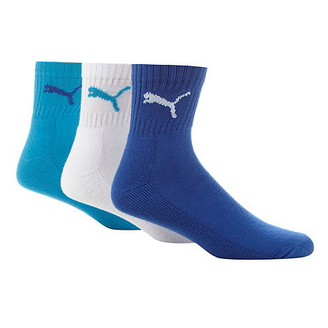 Puma - Pack of three turquoise white and blue short crew socks