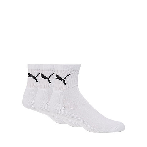 Puma - Pack of three white short crew socks
