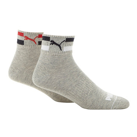Puma - Pack of two grey striped cuff trainer socks