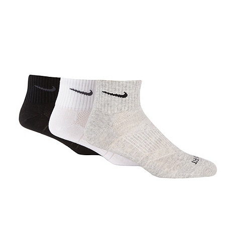 Nike - Pack of three white black and grey +Dri-FIT+ sports socks