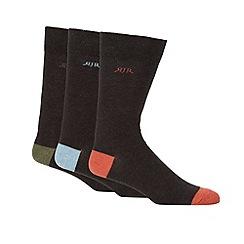 RJR.John Rocha - Pack of three designer dark grey marled socks