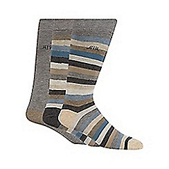 RJR.John Rocha - Designer pack of three blue block striped socks