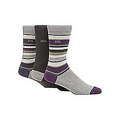 RJR.John Rocha - Designer pack of three purple grey striped socks