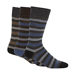 RJR.John Rocha - Designer pack of three designer grey block striped socks