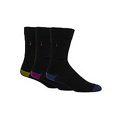 J by Jasper Conran - Designer pack of three black plain tipped socks