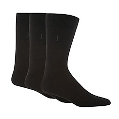 J by Jasper Conran - Designer pack of three black plain socks