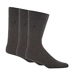 J by Jasper Conran - Designer pack of three grey plain socks