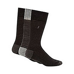 J by Jasper Conran - Pack of three designer black striped cushioned sole socks