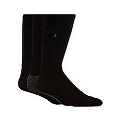 J by Jasper Conran - Designer pack of three black cotton blend socks